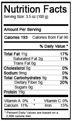 nutrition information for organic tempeh